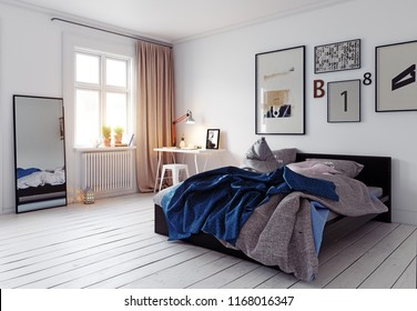 modern bedroom interior. 3d rendering design concept