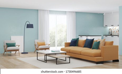 Modern bedroom interior with blue walls and a yellow sofa. Neo Memphis style interior. 3D rendering.