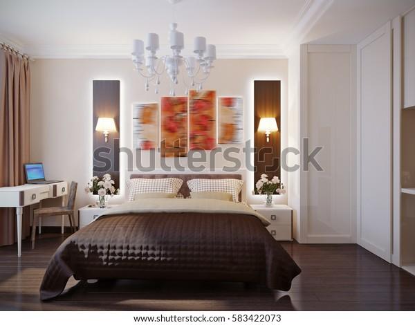 Modern bedroom interior design. 3d rendering
