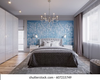 Modern Bedroom Interior Design with Classic Elements Gray Walls White Furniture and Floral Wallpaper. 3d illustration