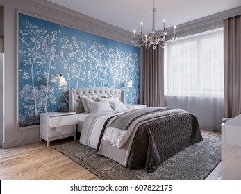 Modern Bedroom Interior Design with Classic Elements Gray Walls White Furniture and Floral Wallpaper. 3d illustration.