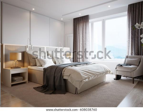Modern Bedroom Interior Design White Walls Stock ...