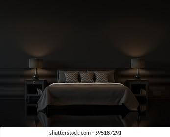 Modern Bedroom Dark Walls High Res Stock Images Shutterstock