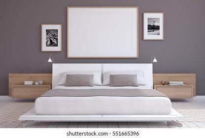 Modern bedroom interior. Frame mockup. 3d render.