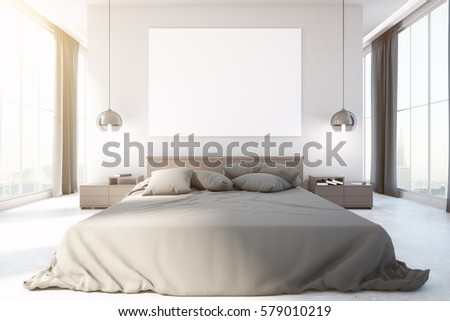 Modern Bedroom Interior With Furniture, Blank Whiteboard, City View And  Daylight. Front View