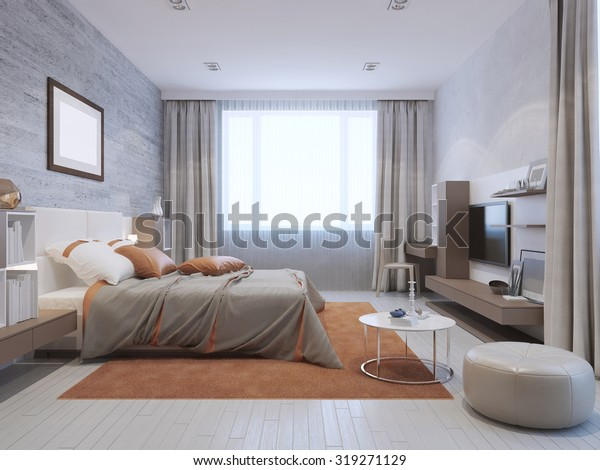 Modern Bedroom Interior Grey Orange Colors | Royalty-Free ...