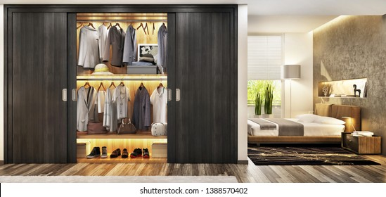 Modern bedroom with a large and beautiful wardrobe. Luxury and beautiful bedroom. 3d rendering