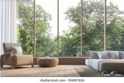 Modern bedroom with nature view 3d rendering Image. There are large window overlooking the surrounding nature and forest