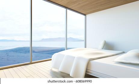 Modern bedroom ocean view / 3d render image