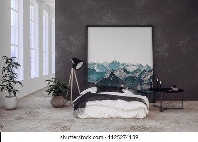 Modern bedroom in an open plan loft conversion with dark grey textured divider wall and divan style bed with lamps and potted plants in front of tall windows. 3d rendering