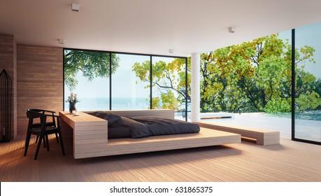 The Modern Bedroom -  Sea view  / 3d rendering interior
