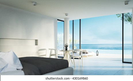 The Modern Bedroom - Sundeck on Sea view for vacation and summer / 3d rendering interior