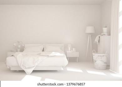 Modern bedroom in white color. Scandinavian interior design. 3D illustration