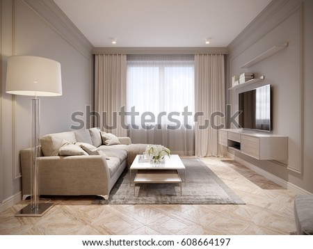 Captivating Modern Beige Gray Living Room Interior Design With Large Light Beige Sofa  And Beige White Curtains