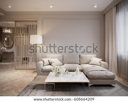 Modern Beige Gray Living Room Interior Design With Large Light Beige Sofa  And Beige White Curtains