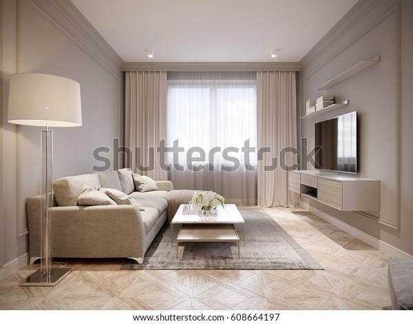 Modern beige gray living room interior arkivillustrasjon for Case stile antico