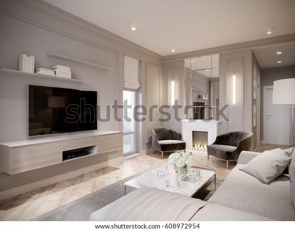 Illustration De Stock De Decoration Moderne Du Salon Gris Beige 608972954