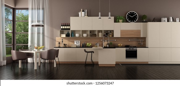 Modern beige kitchen in a villa with island and dining table - 3d rendering