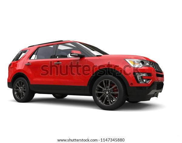 Modern big red SUV - front wheel closeup shot - 3D Illustration