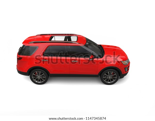 Modern big red SUV - top down side view - 3D Illustration