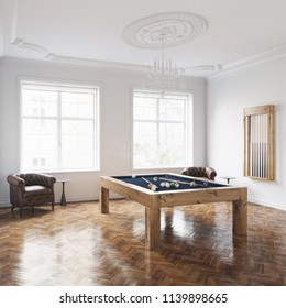 Modern billiard table in classic white interior with vintage leather armchairs on wooden floor 3D render