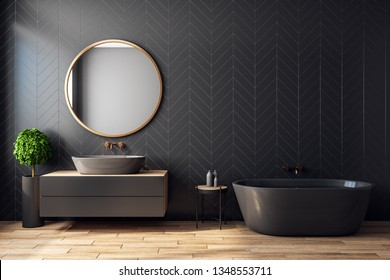 Modern black bathroom interior with decorative tree, bath tub, sink, round mirror, sunlight and copy space. 3D Rendering