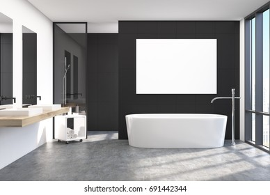 Modern black bathroom interior with a loft window, a horizontal poster hanging above a round tub, two sinks and a shower. 3d rendering mock up