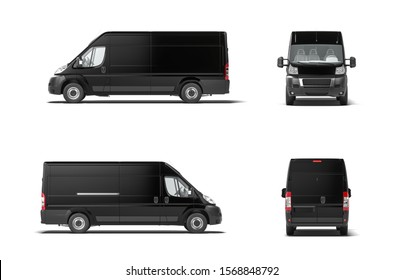 Modern black delivery truck van on white background. 3d rendering. Side view.