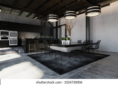 Modern black designer industrial loft conversion interior with a fitted kitchen and appliances and a trendy table and chairs under three striped lamps and exposed structural elements. 3d rendering.