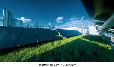 Moderne schwarz-brüchige Solarpaneelfarm, Batteriespeicher und Windturbinen auf frischem grünem Gras unter blauem Himmel - Konzept eines umweltfreundlichen nachhaltigen Energiesystems.3D-Darstellung.