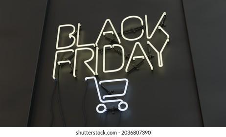 Modern Black Friday Sale Neon Sign 3d Illustration. Social Media Advertising Promo Banner.