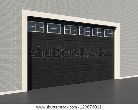 Modern Black Garage Door Windows Stock Illustration 129873011