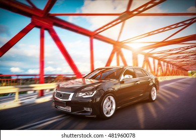 Modern black metallic sedan car on the bridge road. Generic desing, brandless. 3D rendering.