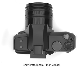 Modern black photo camera - top down view - 3D Illustration