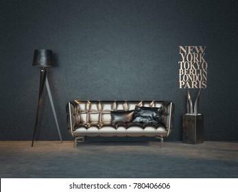 Modern black room. 3d rendering and illustration.