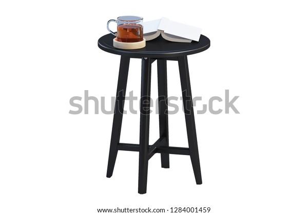 Modern Black Round Coffee Table Books Stock Illustration 1284001459