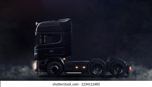 Modern black semi truck on dark background with smoke (3D illustration)