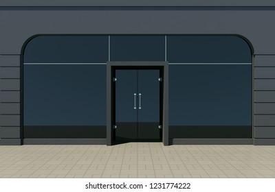 Modern black shop front with large windows. Black store facade 3D render