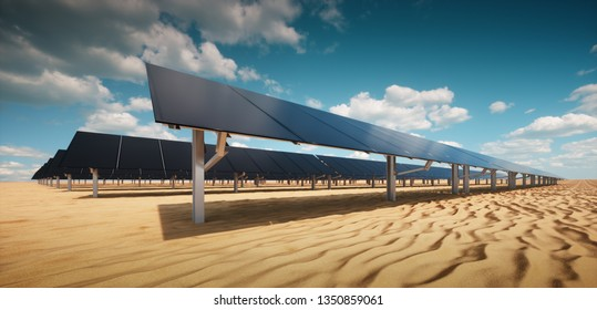 Modern black solar panel of a photovoltaic power plant in a desert environment in sunny weather. 3d rendering.