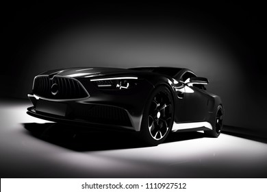Modern black sports car in a spotlight on a black background. Front view. 3D render. Luxury cars.