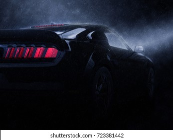 Modern black super muscle car - taillight view - neo noir style - 3D Illustration