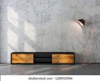 Modern black tv console mockup with wooden facade in empty room, 3d rendering