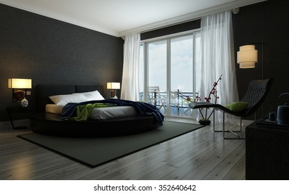 Modern black and white bedroom interior illuminated by lamps with a double bed, contemporary recliner chair and floor-to-ceiling windows opening to a balcony. 3d Rendering.