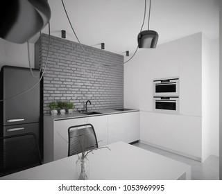 Modern black and white kitchen interior - 3 d render