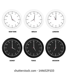 Modern black, white and silhouette set of day and night clock for time zones different cities