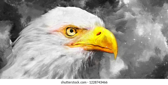 modern black and wight oil painting of eagle