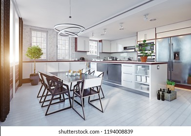 modern black&white kitchen interior. 3d rendering design concept