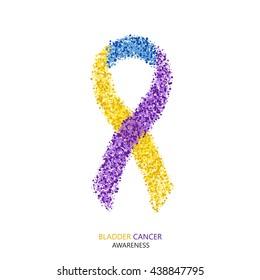 modern BLADDER CANCER awareness circles desigen. Colorful ribbon isolated on white background