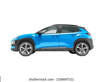 Modern blue car crossover 3D render on white background no shadow