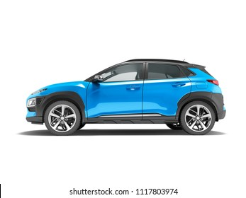 Modern blue car crossover 3D render on white background with shadow